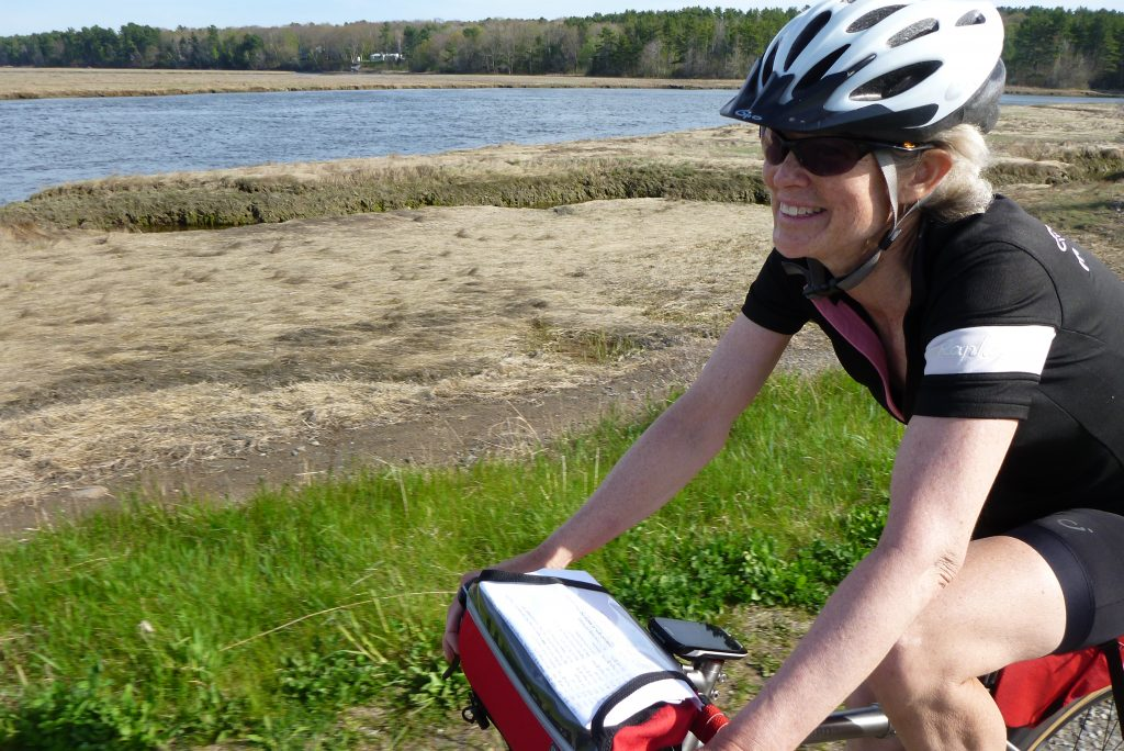 Pamela Blalock on the Tidal Marsh section of the Eastern Trail during a 400k Pre-Ride