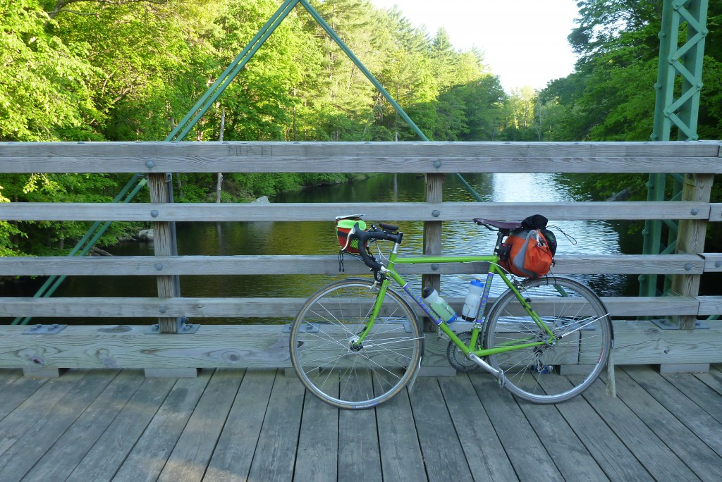 Molly Stark taking a break on the bike bridge over Millers River.